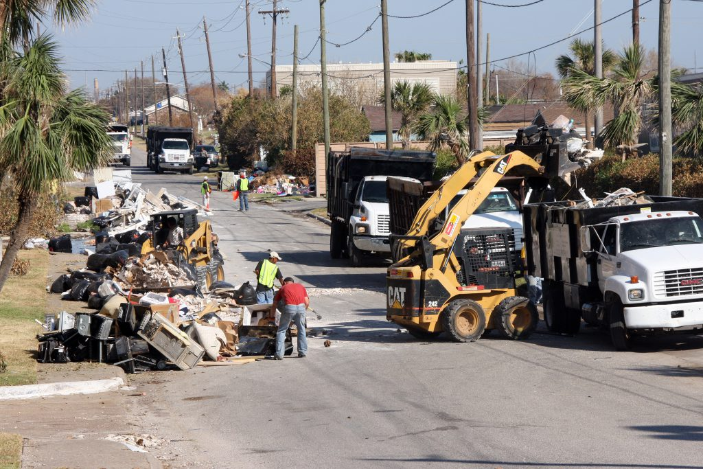 Dickinson Texas - Debris collection from the curbside by contracted work crews